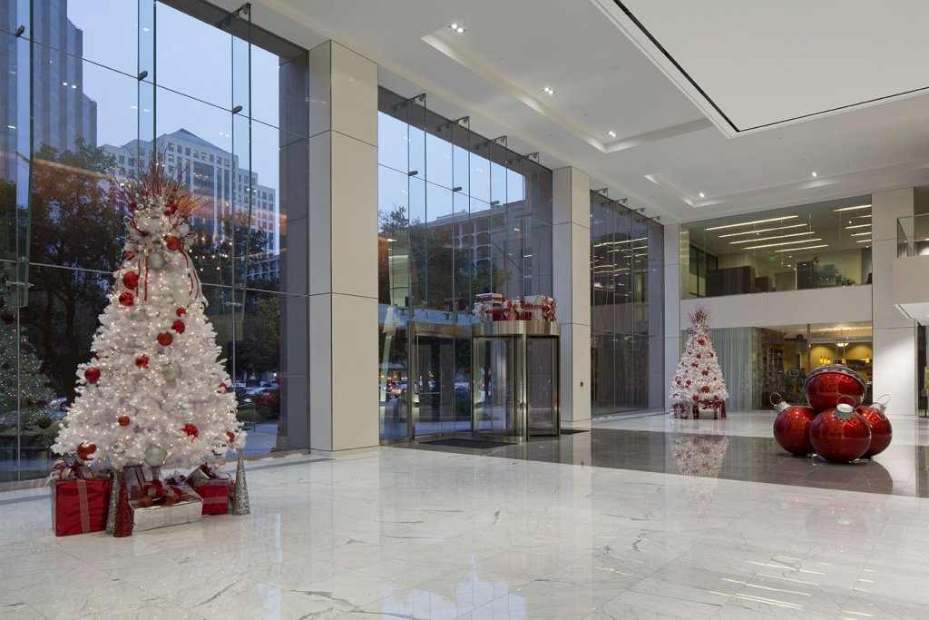 Contemporary Christmas Decor Office Lobby