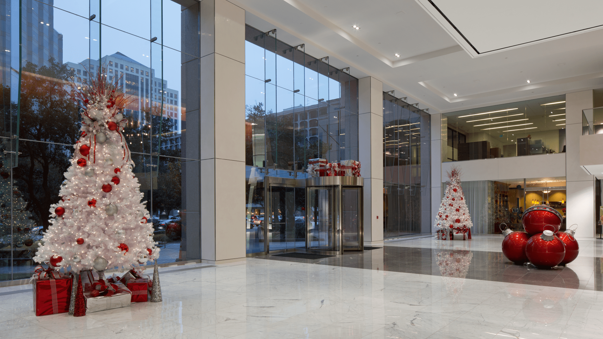 Contemporary Christmas Decorations for Office Lobby