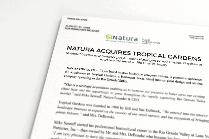 Natura Makes Acquisition of Rio Grande Valley based Tropical Gardens